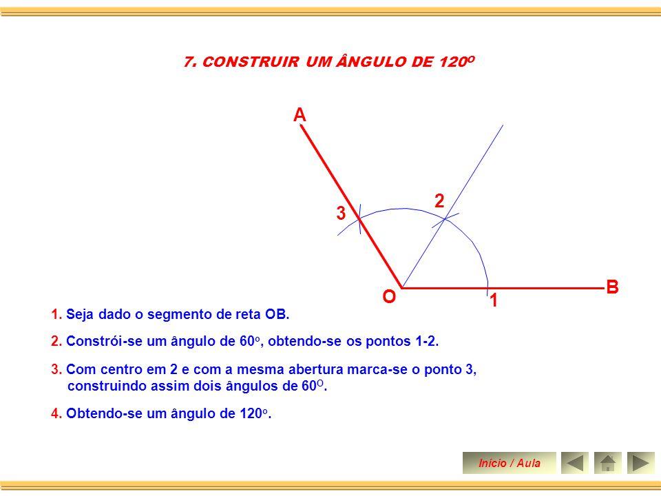 B O 1. Seja dado o segmento de reta OB 2. Constrói-se um ângulo de 90 o. 4. Traça-se a bissetriz do ângulo de 30 o obtendo-se assim dois ângulos de 15
