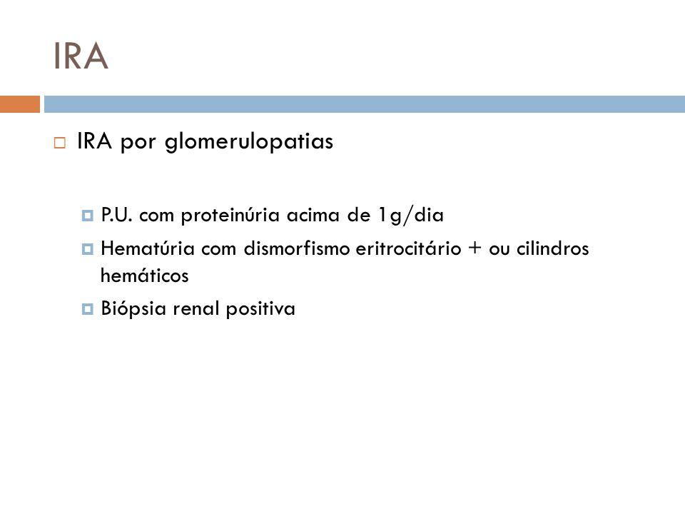 IRA IRA por glomerulopatias P.U. com proteinúria acima de 1g/dia Hematúria com dismorfismo eritrocitário + ou cilindros hemáticos Biópsia renal positi