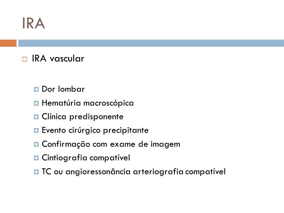IRA IRA vascular Dor lombar Hematúria macroscópica Clínica predisponente Evento cirúrgico precipitante Confirmação com exame de imagem Cintiografia co