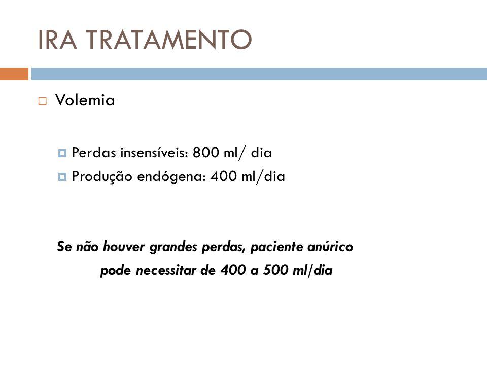 IRA TRATAMENTO Volemia Perdas insensíveis: 800 ml/ dia Produção endógena: 400 ml/dia Se não houver grandes perdas, paciente anúrico pode necessitar de
