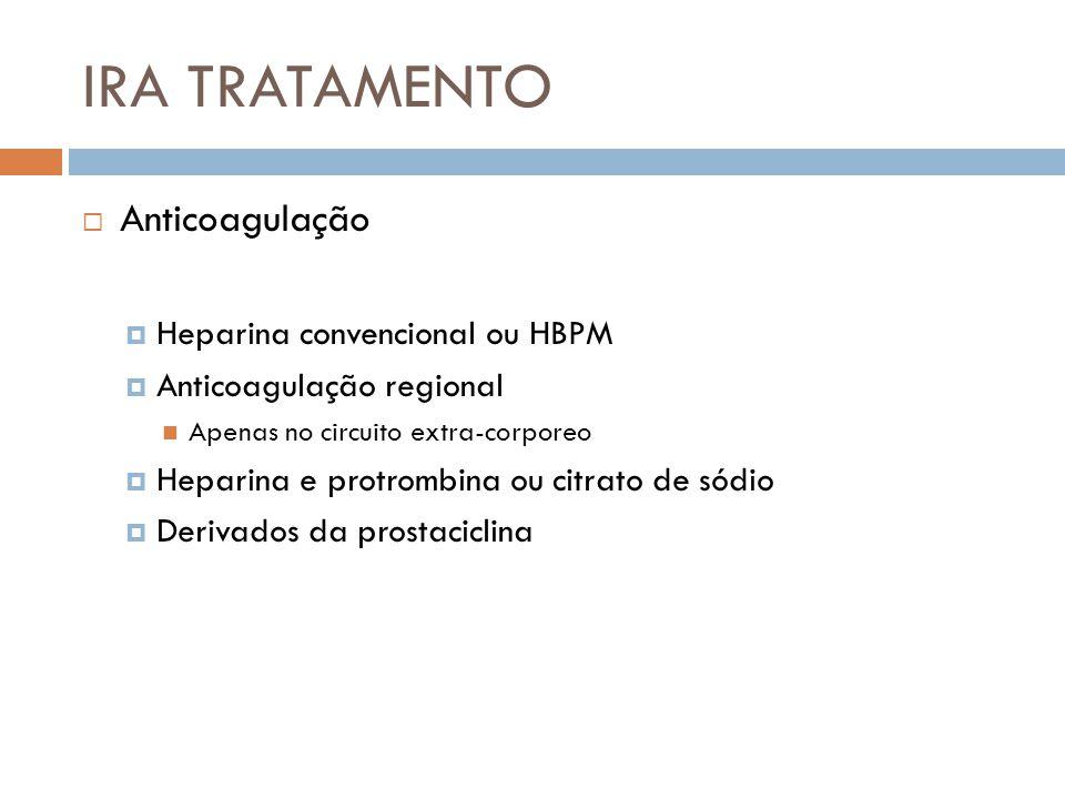 IRA TRATAMENTO Anticoagulação Heparina convencional ou HBPM Anticoagulação regional Apenas no circuito extra-corporeo Heparina e protrombina ou citrat