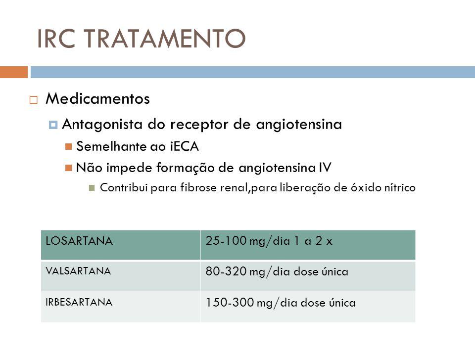 IRC TRATAMENTO Medicamentos Antagonista do receptor de angiotensina Semelhante ao iECA Não impede formação de angiotensina IV Contribui para fibrose r