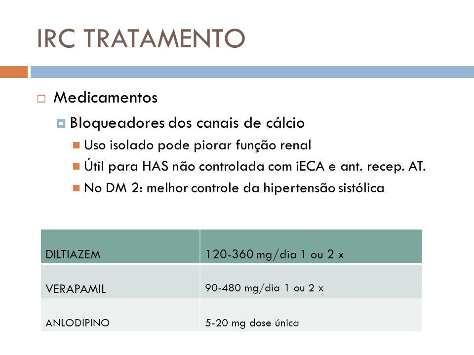 IRC TRATAMENTO Medicamentos Bloqueadores dos canais de cálcio Uso isolado pode piorar função renal Útil para HAS não controlada com iECA e ant. recep.