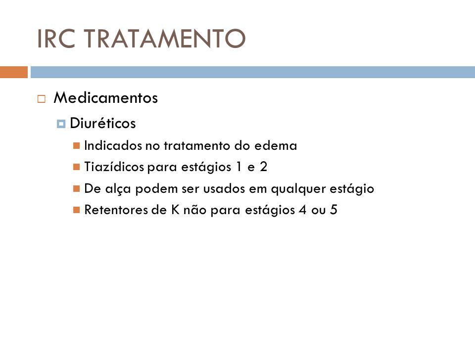 IRC TRATAMENTO Medicamentos Diuréticos Indicados no tratamento do edema Tiazídicos para estágios 1 e 2 De alça podem ser usados em qualquer estágio Re