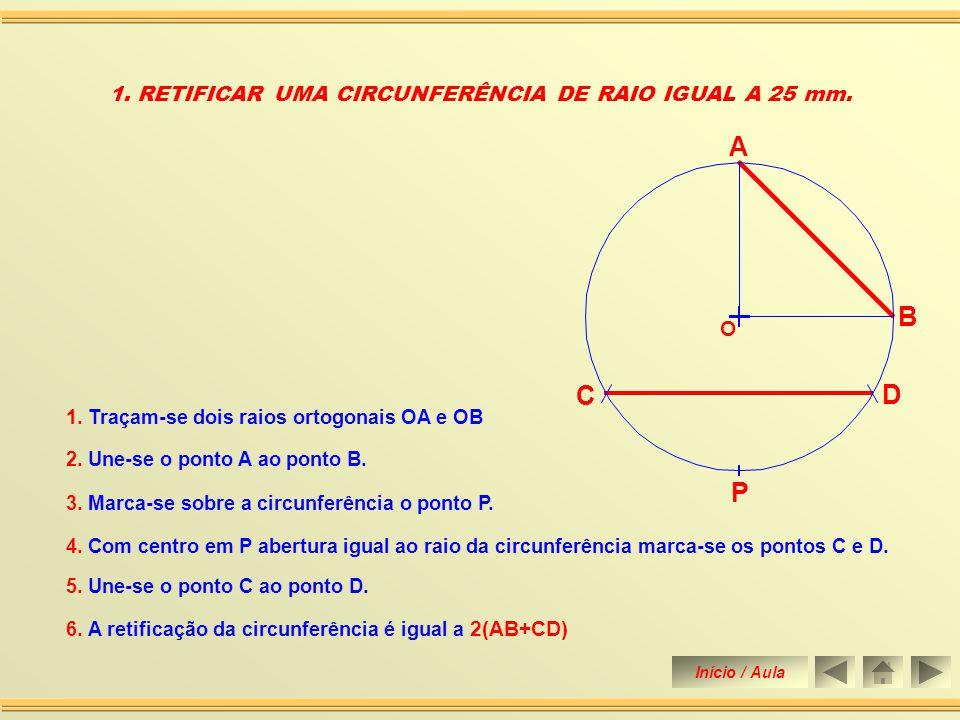 Retificar uma circunferência de raio igual a 25 mm.