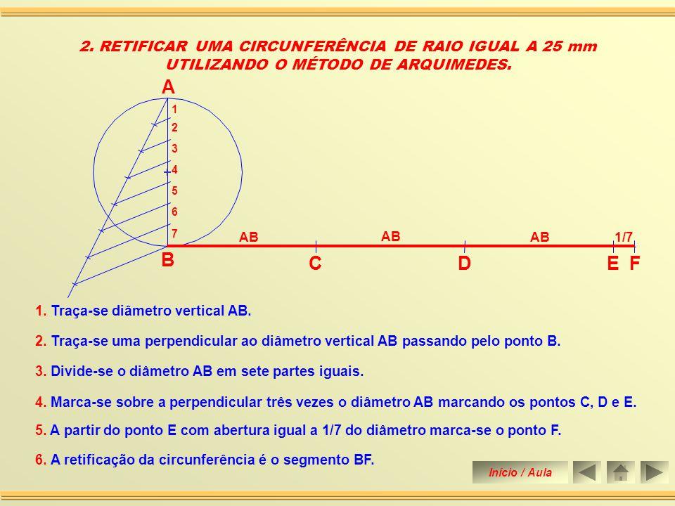 1.RETIFICAR UMA CIRCUNFERÊNCIA DE RAIO IGUAL A 25 mm.