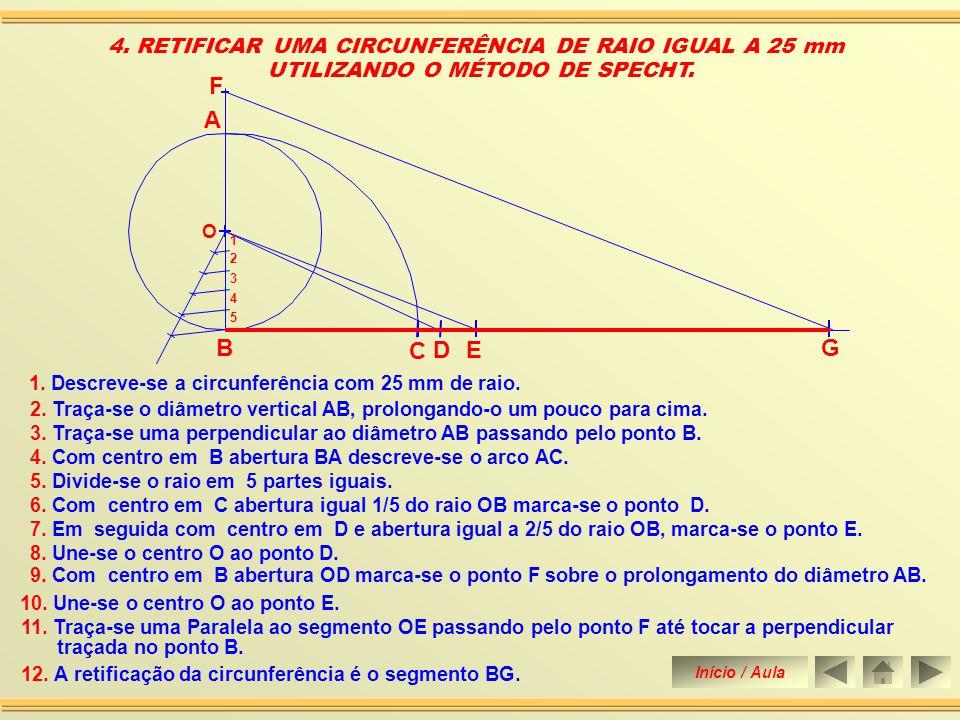 2.Traça-se uma perpendicular ao diâmetro AB passando pelo ponto B.