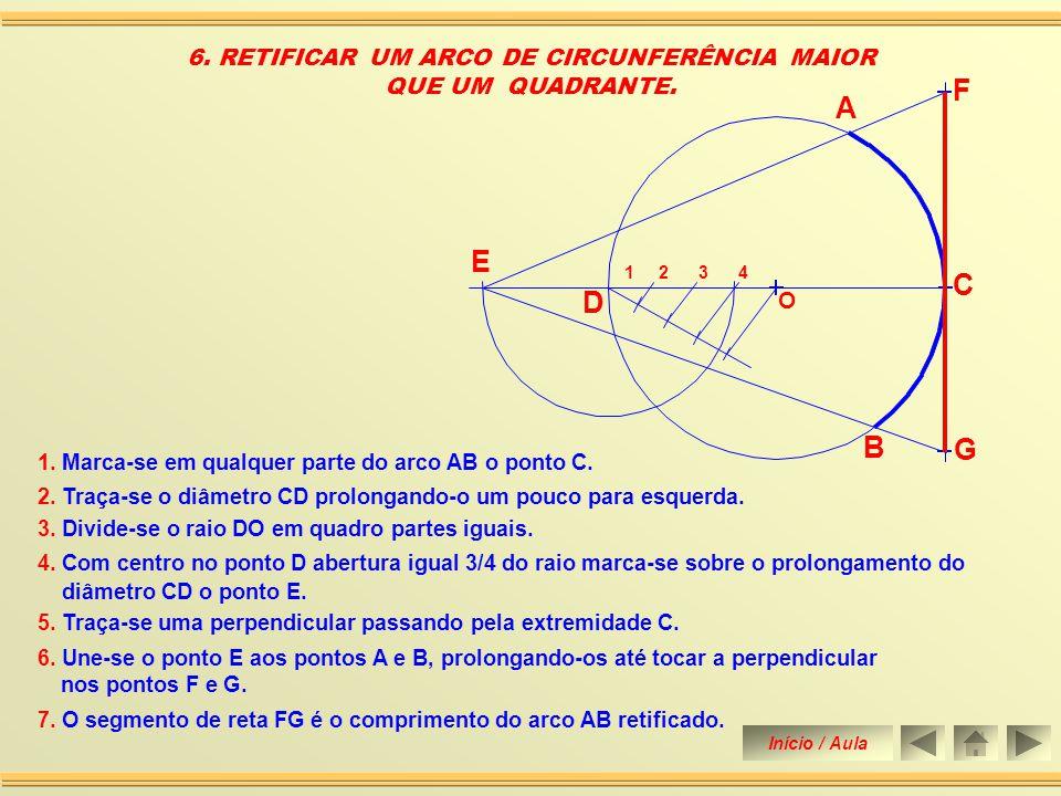 5.Une-se o ponto D ao ponto B prolongando até tocar a perpendicular no ponto E.