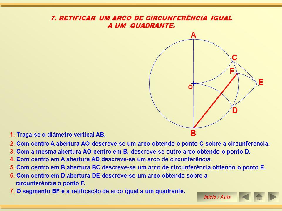 6.Une-se o ponto E aos pontos A e B, prolongando-os até tocar a perpendicular nos pontos F e G.