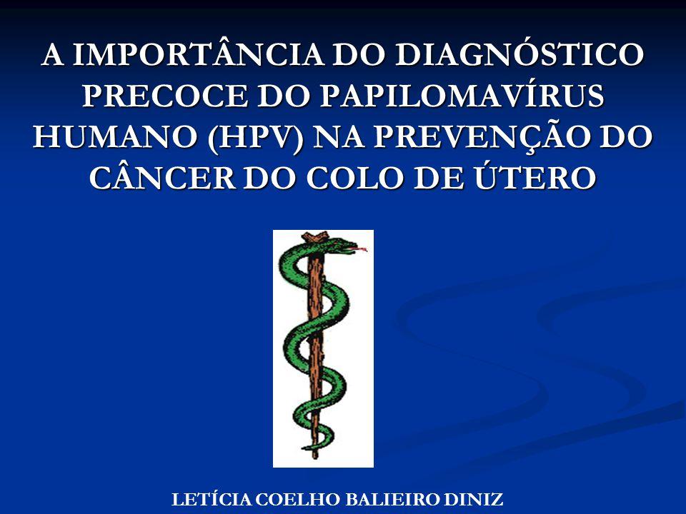 A IMPORTÂNCIA DO DIAGNÓSTICO PRECOCE DO PAPILOMAVÍRUS HUMANO (HPV) NA PREVENÇÃO DO CÂNCER DO COLO DE ÚTERO LETÍCIA COELHO BALIEIRO DINIZ
