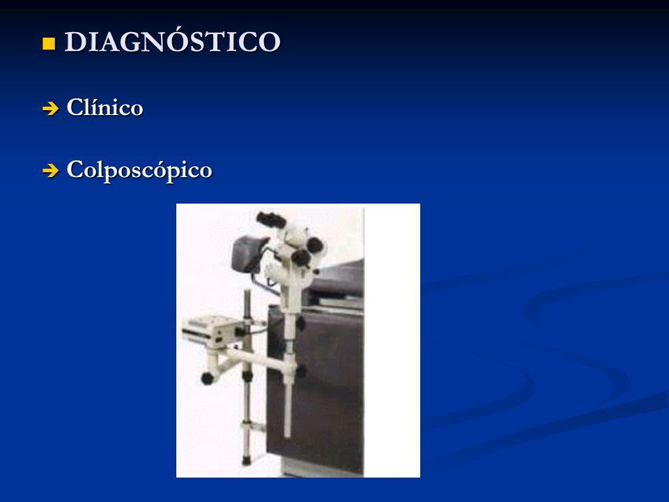 DIAGNÓSTICO DIAGNÓSTICO Clínico Clínico Colposcópico Colposcópico