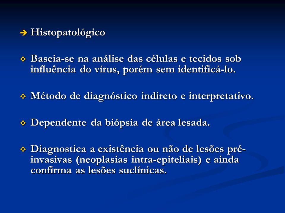 Histopatológico Histopatológico Baseia-se na análise das células e tecidos sob influência do vírus, porém sem identificá-lo. Baseia-se na análise das
