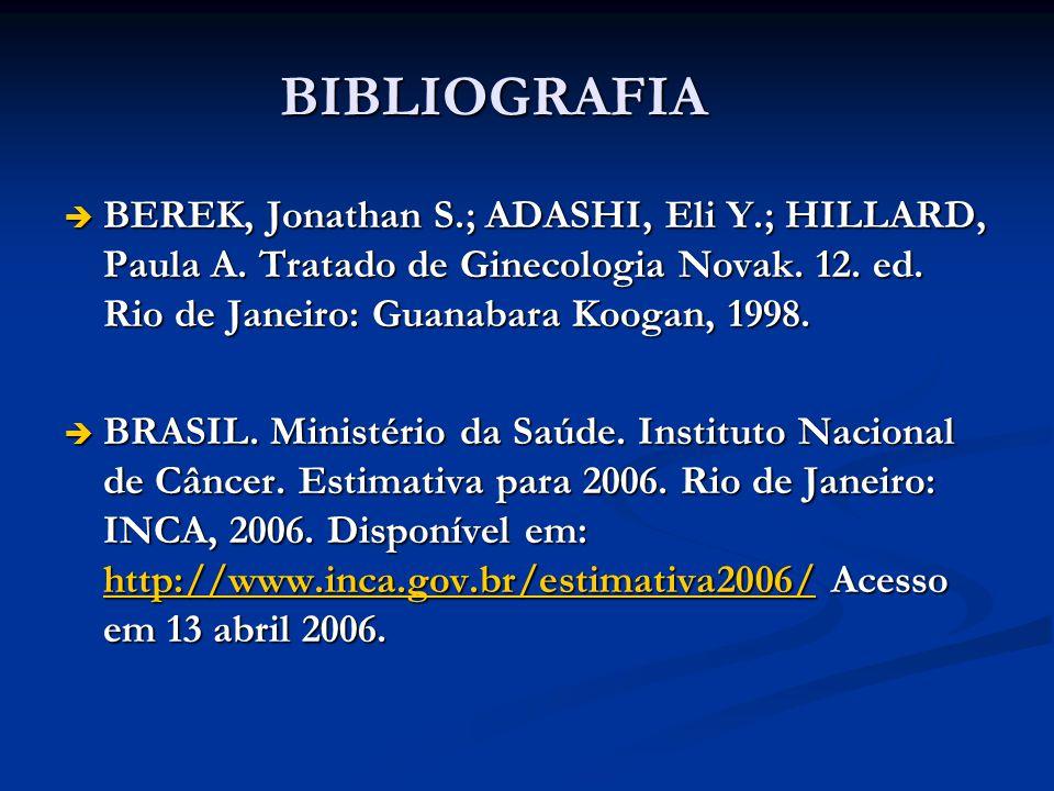 BIBLIOGRAFIA BEREK, Jonathan S.; ADASHI, Eli Y.; HILLARD, Paula A. Tratado de Ginecologia Novak. 12. ed. Rio de Janeiro: Guanabara Koogan, 1998. BEREK