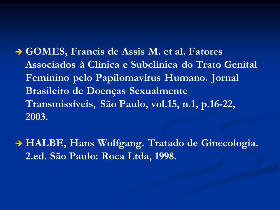 GOMES, Francis de Assis M. et al. Fatores Associados à Clínica e Subclínica do Trato Genital Feminino pelo Papilomavírus Humano. Jornal Brasileiro de