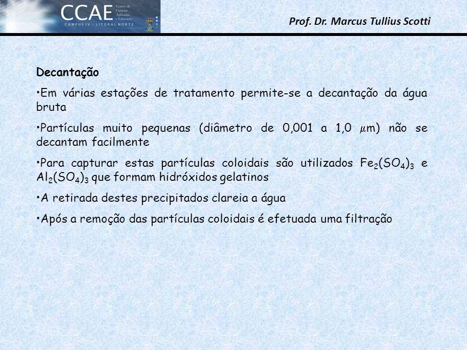 Prof. Dr. Marcus Tullius Scotti Decantação Em várias estações de tratamento permite-se a decantação da água bruta Partículas muito pequenas (diâmetro