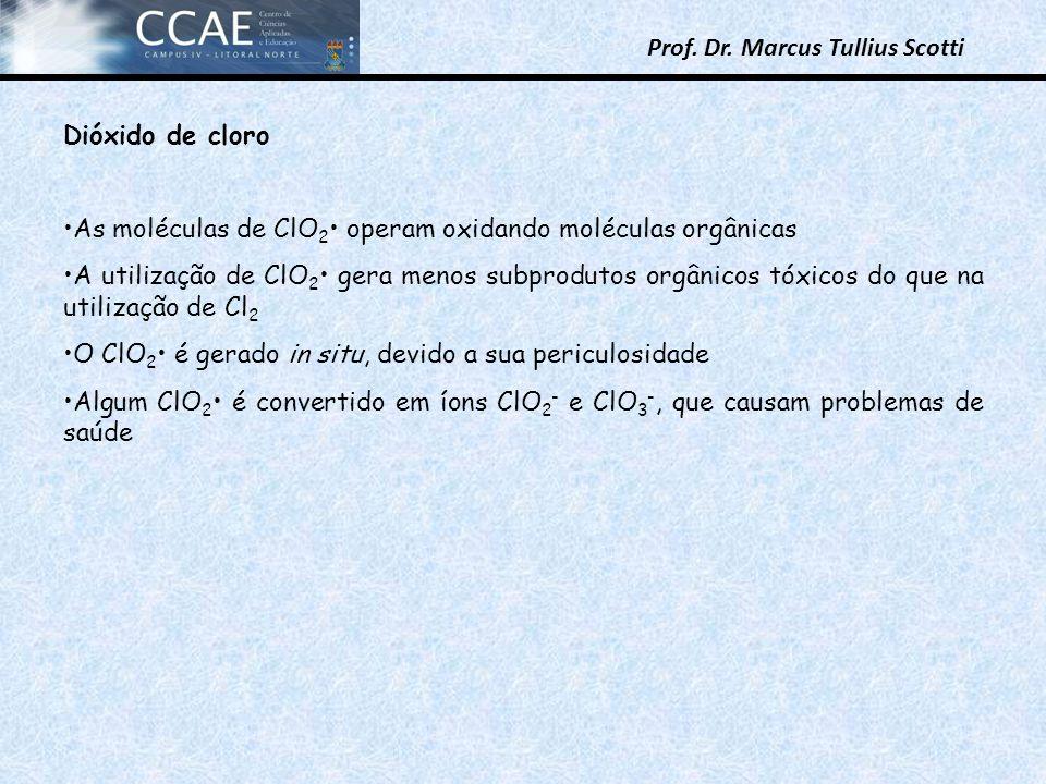 Prof. Dr. Marcus Tullius Scotti Dióxido de cloro As moléculas de ClO 2 operam oxidando moléculas orgânicas A utilização de ClO 2 gera menos subproduto