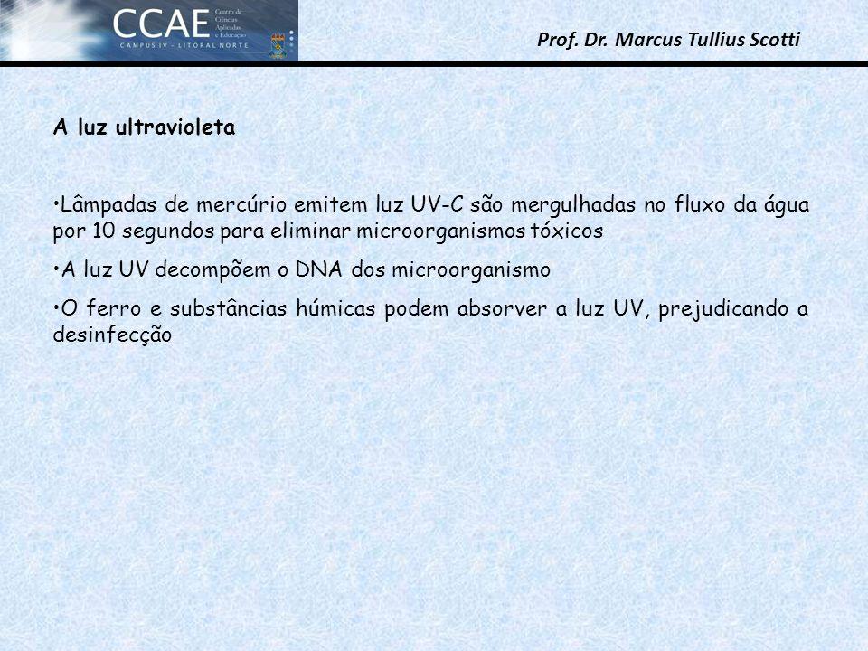 Prof. Dr. Marcus Tullius Scotti A luz ultravioleta Lâmpadas de mercúrio emitem luz UV-C são mergulhadas no fluxo da água por 10 segundos para eliminar