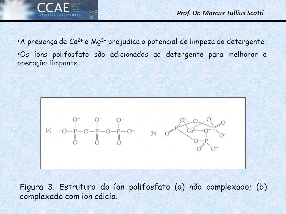 Prof. Dr. Marcus Tullius Scotti A presença de Ca 2+ e Mg 2+ prejudica o potencial de limpeza do detergente Os íons polifosfato são adicionados ao dete