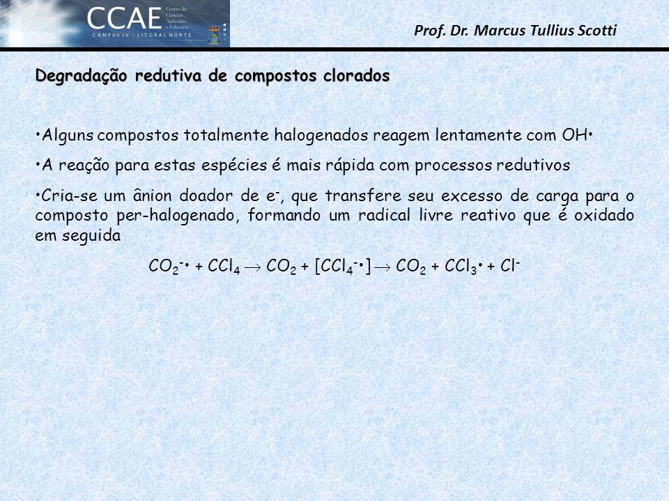 Prof. Dr. Marcus Tullius Scotti Degradação redutiva de compostos clorados Alguns compostos totalmente halogenados reagem lentamente com OH A reação pa