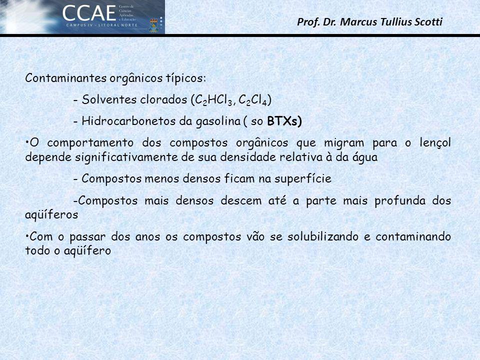 Prof. Dr. Marcus Tullius Scotti Contaminantes orgânicos típicos: - Solventes clorados (C 2 HCl 3, C 2 Cl 4 ) - Hidrocarbonetos da gasolina ( so BTXs)
