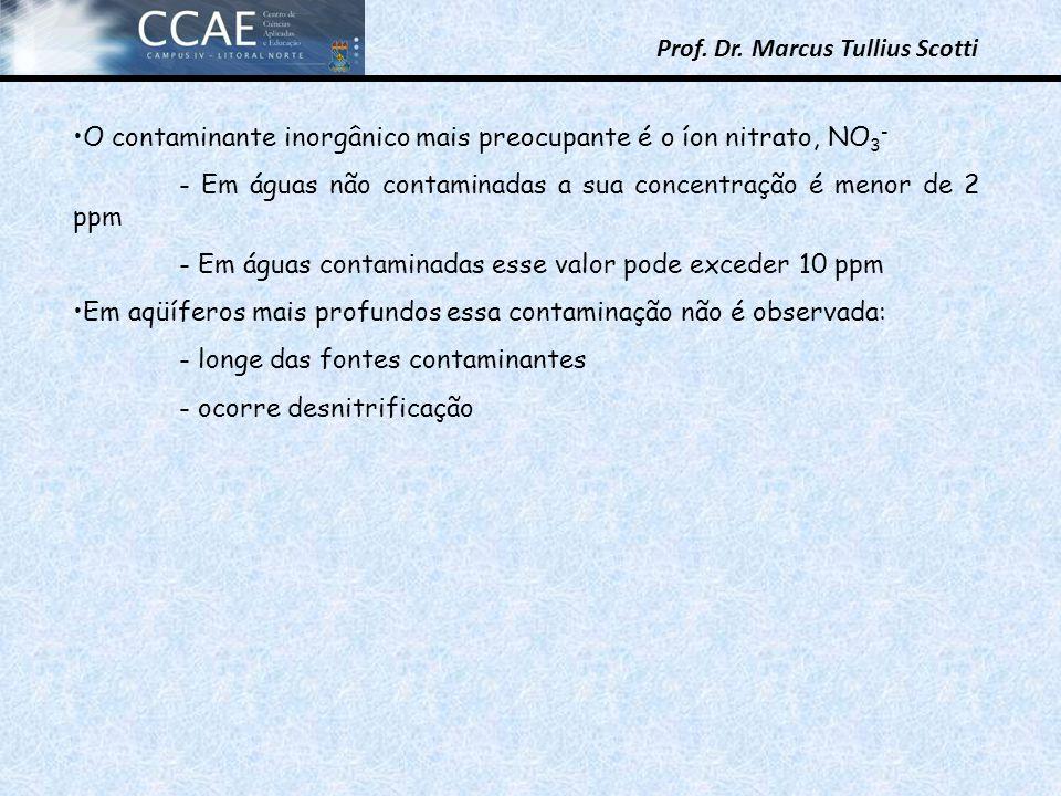 Prof. Dr. Marcus Tullius Scotti O contaminante inorgânico mais preocupante é o íon nitrato, NO 3 - - Em águas não contaminadas a sua concentração é me