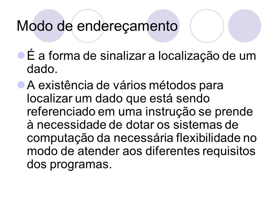 Modo de endereçamento É a forma de sinalizar a localização de um dado.