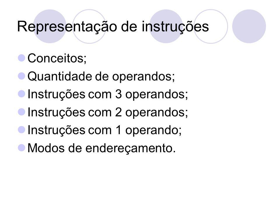 Representação de instruções Conceitos; Quantidade de operandos; Instruções com 3 operandos; Instruções com 2 operandos; Instruções com 1 operando; Modos de endereçamento.