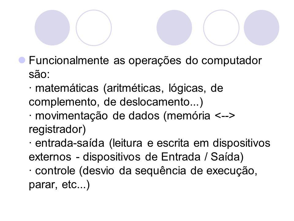 Funcionalmente as operações do computador são: · matemáticas (aritméticas, lógicas, de complemento, de deslocamento...) · movimentação de dados (memória registrador) · entrada-saída (leitura e escrita em dispositivos externos - dispositivos de Entrada / Saída) · controle (desvio da sequência de execução, parar, etc...)