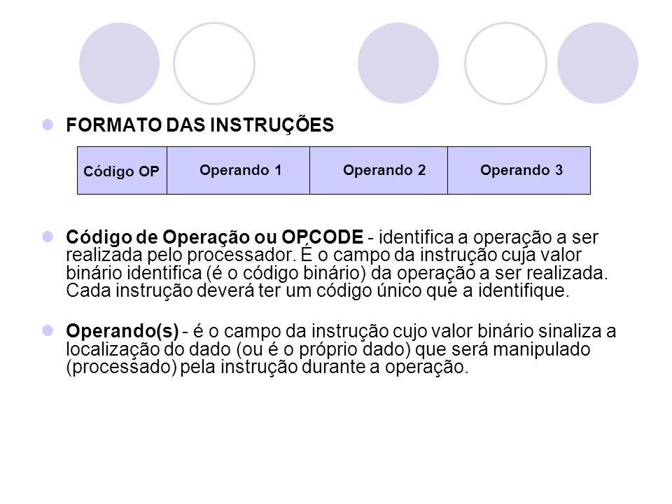 FORMATO DAS INSTRUÇÕES Código de Operação ou OPCODE - identifica a operação a ser realizada pelo processador.