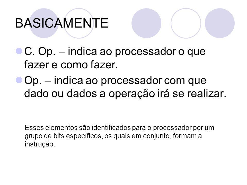 BASICAMENTE C.Op. – indica ao processador o que fazer e como fazer.