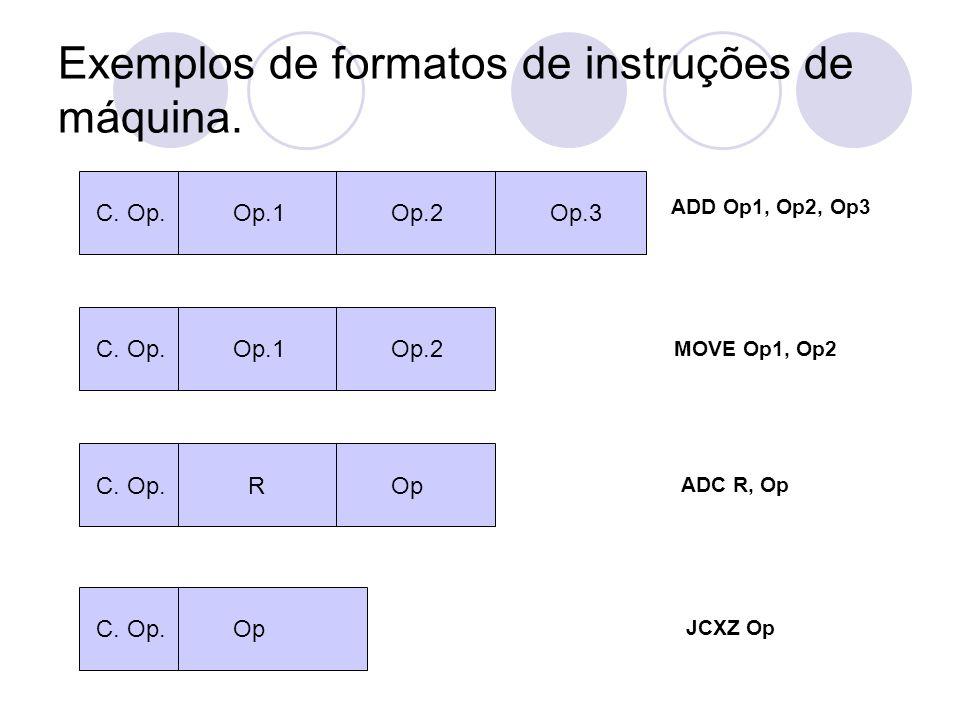 Exemplos de formatos de instruções de máquina.C. Op.Op.3Op.2Op.1 C.