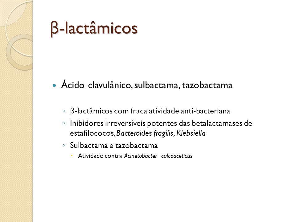 β -lactâmicos Ácido clavulânico, sulbactama, tazobactama β -lactâmicos com fraca atividade anti-bacteriana Inibidores irreversíveis potentes das betal