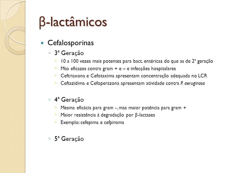 β -lactâmicos Cefalosporinas 3ª Geração 10 a 100 vezes mais potentes para bact. entéricas do que as de 2ª geração Mto eficazes contra gram + e – e inf