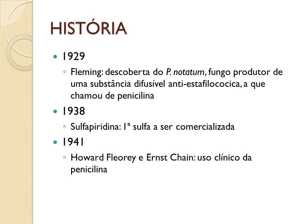 HISTÓRIA 1929 Fleming: descoberta do P. notatum, fungo produtor de uma substância difusível anti-estafilococica, a que chamou de penicilina 1938 Sulfa
