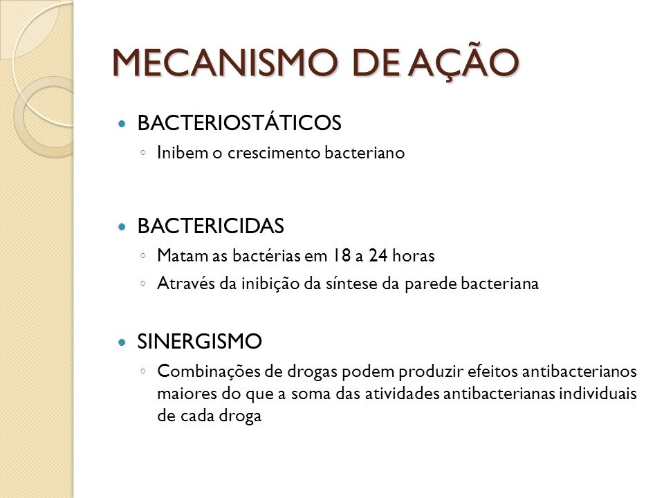MECANISMO DE AÇÃO BACTERIOSTÁTICOS Inibem o crescimento bacteriano BACTERICIDAS Matam as bactérias em 18 a 24 horas Através da inibição da síntese da