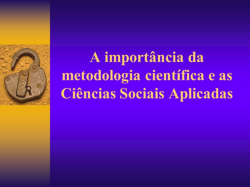 A importância da metodologia científica e as Ciências Sociais Aplicadas