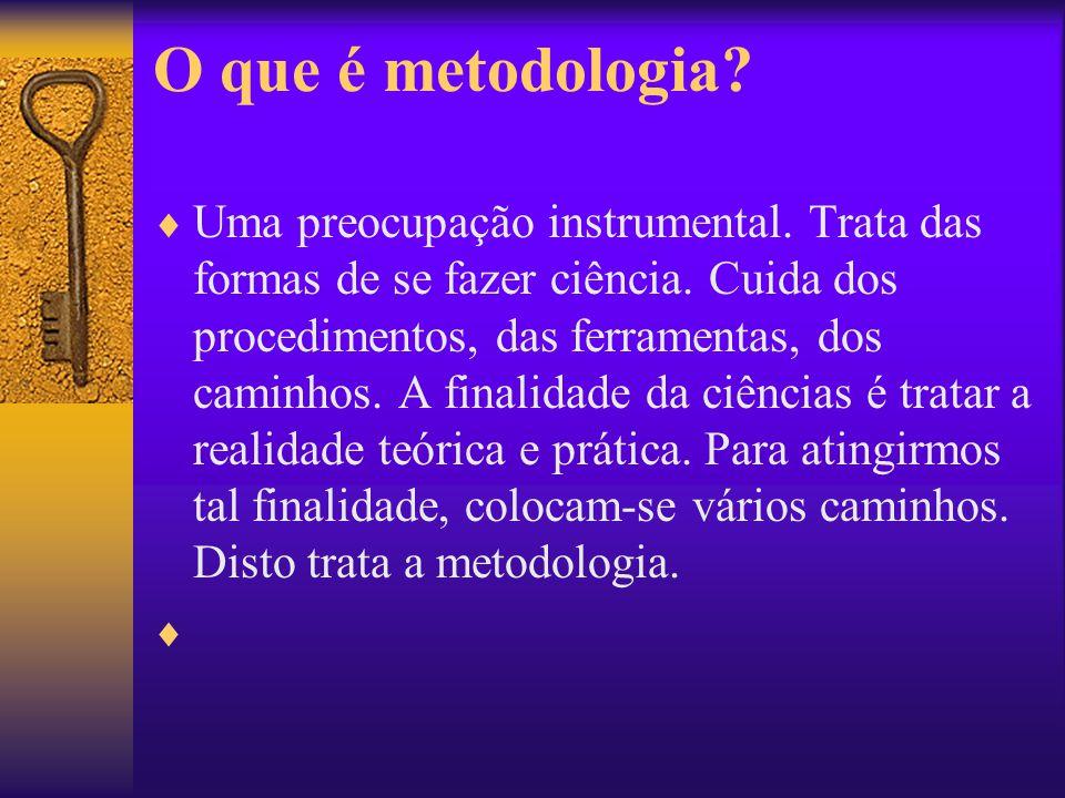 O que é metodologia? Uma preocupação instrumental. Trata das formas de se fazer ciência. Cuida dos procedimentos, das ferramentas, dos caminhos. A fin