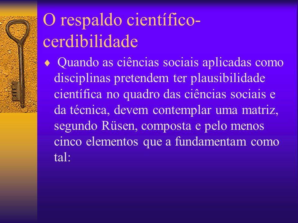 O respaldo científico- cerdibilidade Quando as ciências sociais aplicadas como disciplinas pretendem ter plausibilidade científica no quadro das ciênc