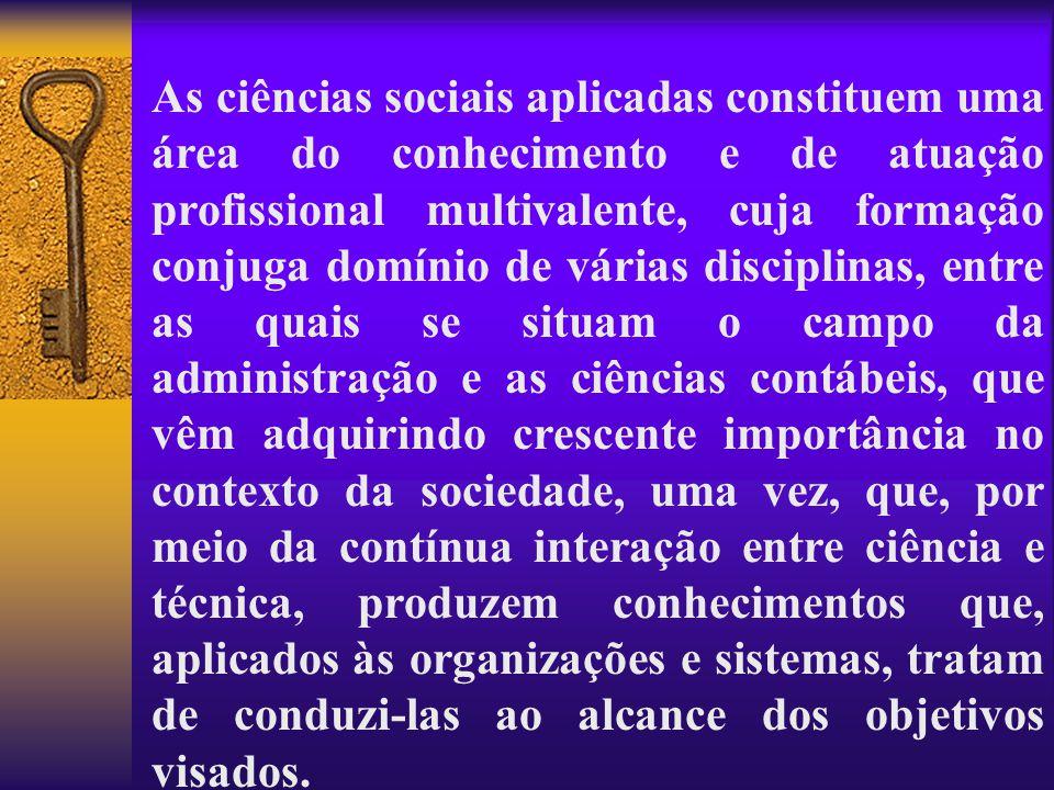 As ciências sociais aplicadas constituem uma área do conhecimento e de atuação profissional multivalente, cuja formação conjuga domínio de várias disc