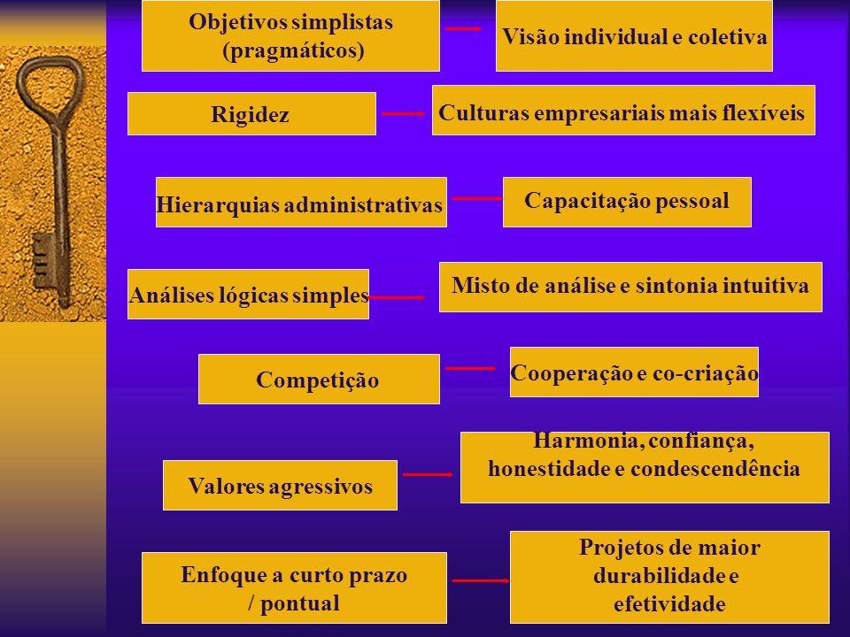 Objetivos simplistas (pragmáticos) Culturas empresariais mais flexíveis Rigidez Hierarquias administrativas Capacitação pessoal Análises lógicas simpl