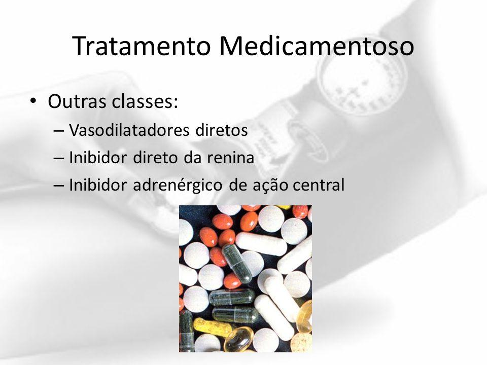 Tratamento Medicamentoso Outras classes: – Vasodilatadores diretos – Inibidor direto da renina – Inibidor adrenérgico de ação central
