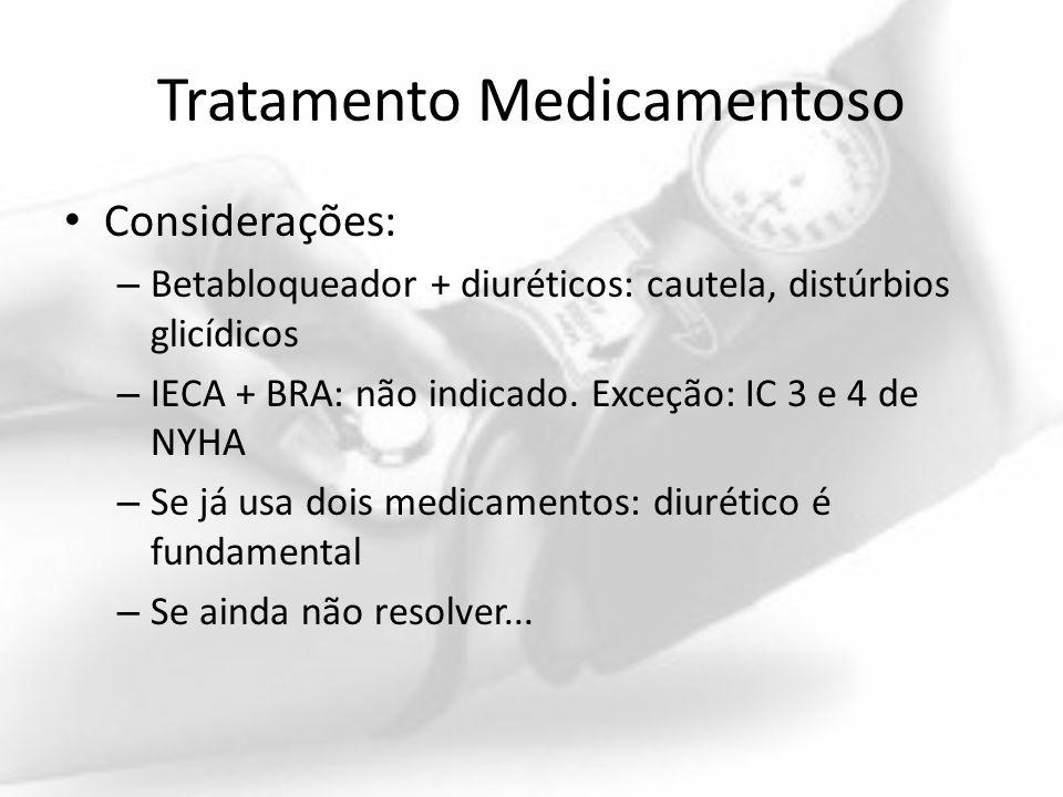 Tratamento Medicamentoso Considerações: – Betabloqueador + diuréticos: cautela, distúrbios glicídicos – IECA + BRA: não indicado. Exceção: IC 3 e 4 de