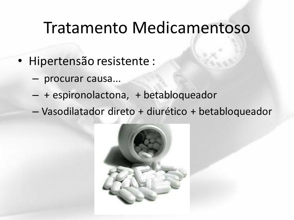 Tratamento Medicamentoso Hipertensão resistente : – procurar causa... – + espironolactona, + betabloqueador – Vasodilatador direto + diurético + betab
