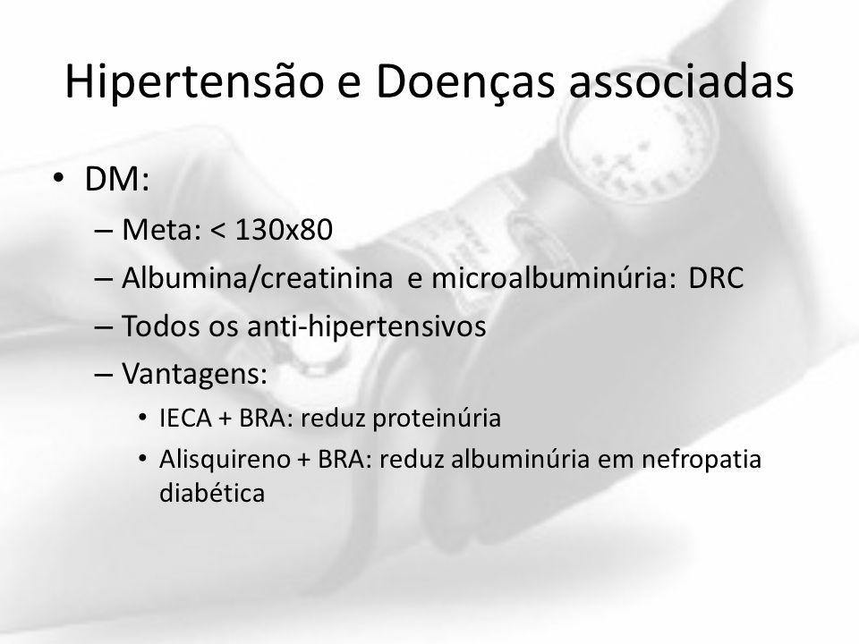 Hipertensão e Doenças associadas DM: – Meta: < 130x80 – Albumina/creatinina e microalbuminúria: DRC – Todos os anti-hipertensivos – Vantagens: IECA +