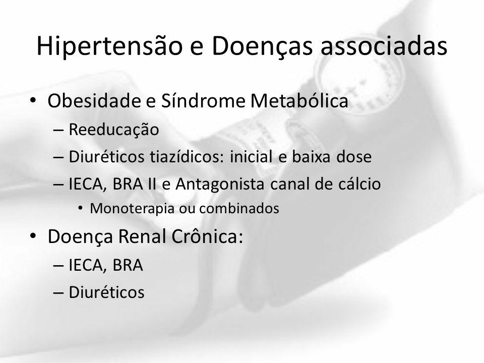 Hipertensão e Doenças associadas Obesidade e Síndrome Metabólica – Reeducação – Diuréticos tiazídicos: inicial e baixa dose – IECA, BRA II e Antagonis
