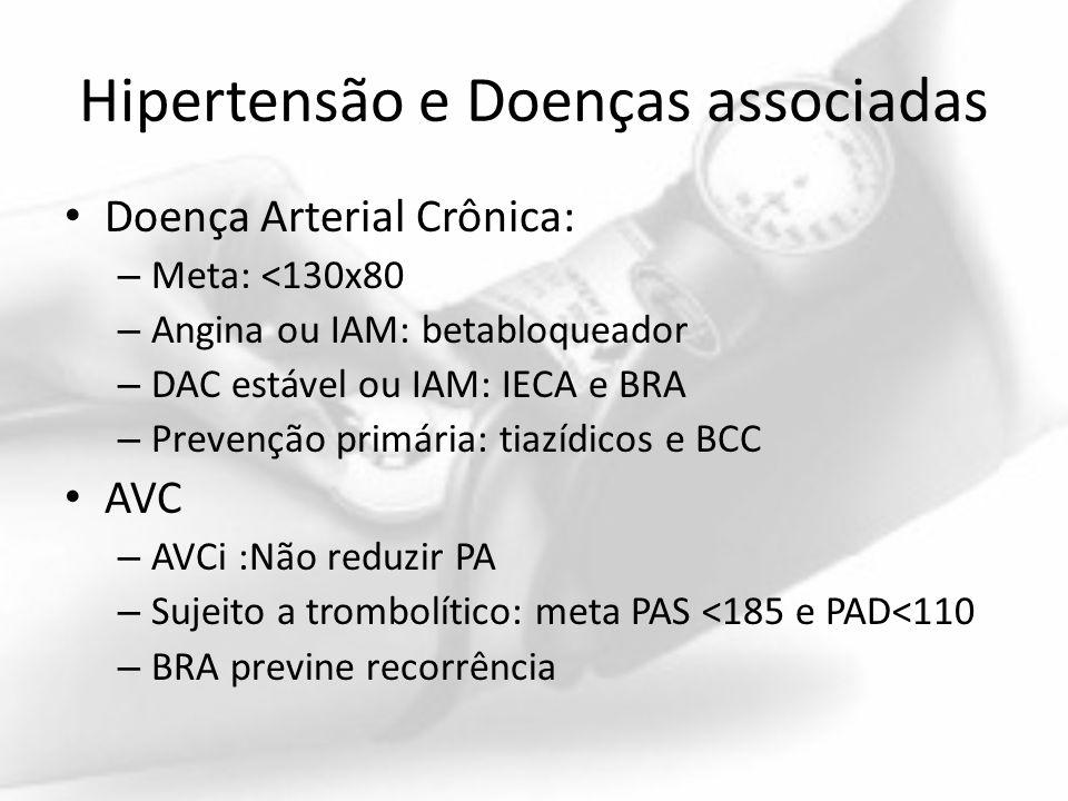 Hipertensão e Doenças associadas Doença Arterial Crônica: – Meta: <130x80 – Angina ou IAM: betabloqueador – DAC estável ou IAM: IECA e BRA – Prevenção