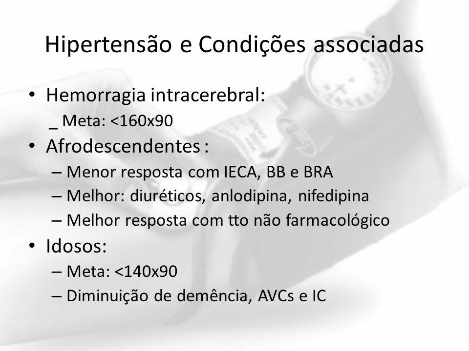 Hipertensão e Condições associadas Hemorragia intracerebral: _ Meta: <160x90 Afrodescendentes : – Menor resposta com IECA, BB e BRA – Melhor: diurétic
