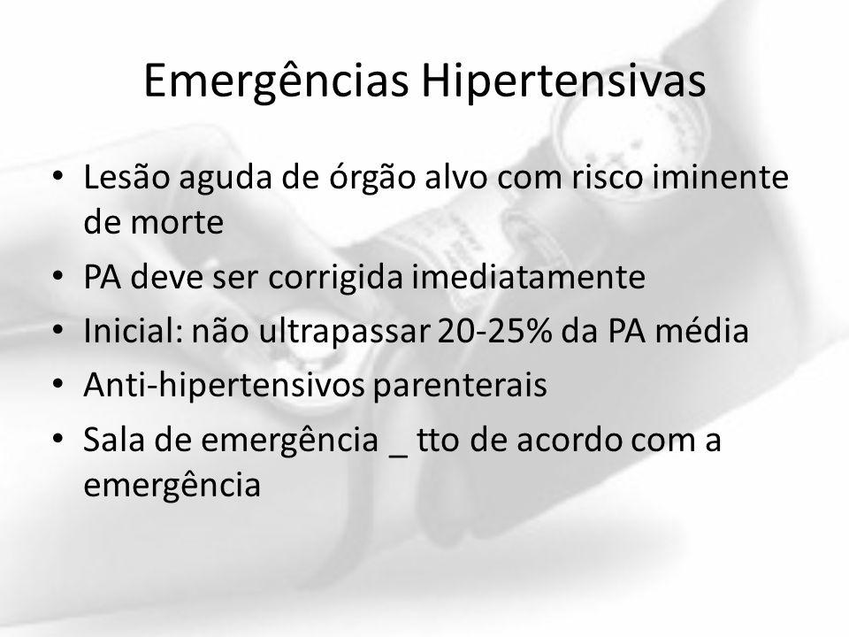 Emergências Hipertensivas Lesão aguda de órgão alvo com risco iminente de morte PA deve ser corrigida imediatamente Inicial: não ultrapassar 20-25% da