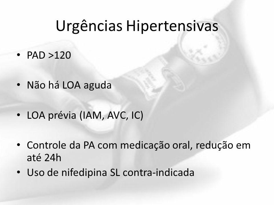 Urgências Hipertensivas PAD >120 Não há LOA aguda LOA prévia (IAM, AVC, IC) Controle da PA com medicação oral, redução em até 24h Uso de nifedipina SL