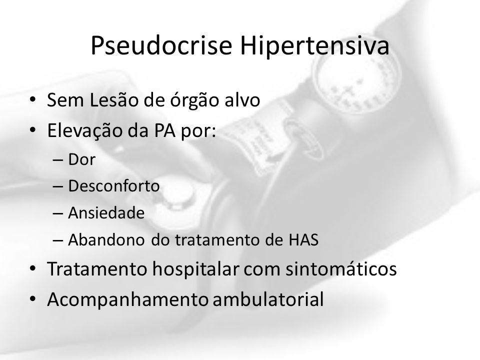Pseudocrise Hipertensiva Sem Lesão de órgão alvo Elevação da PA por: – Dor – Desconforto – Ansiedade – Abandono do tratamento de HAS Tratamento hospit